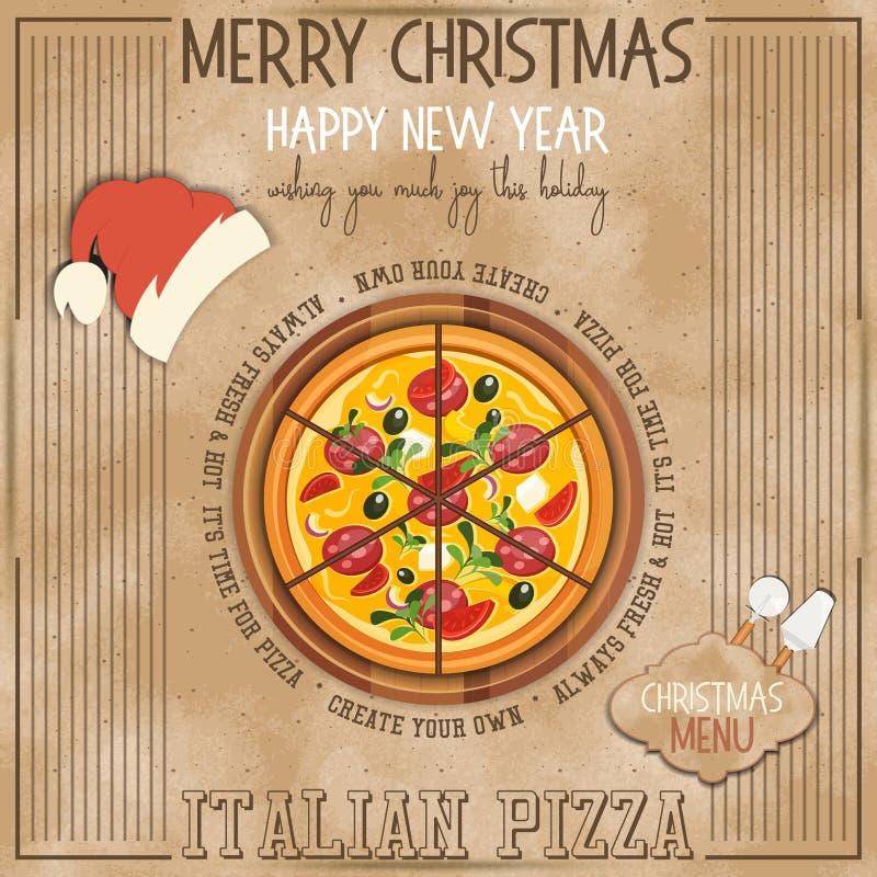 Christmas Pizza Menu stock illustration