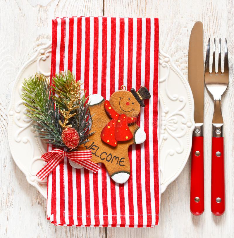 Christmas place setting. royalty free stock images