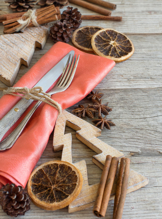 Christmas Place Setting on a wooden table royalty free stock image