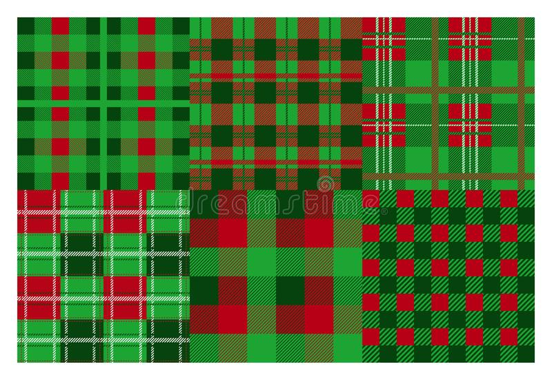 Christmas plaid. Seamless flannel ornamental pattern, Xmas green and red background collection. Vector greeting and stock illustration