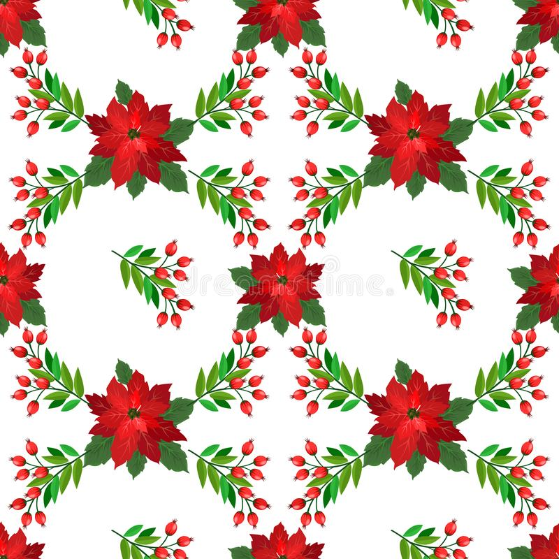 Christmas plant red and green color seamless pattern. vector illustration