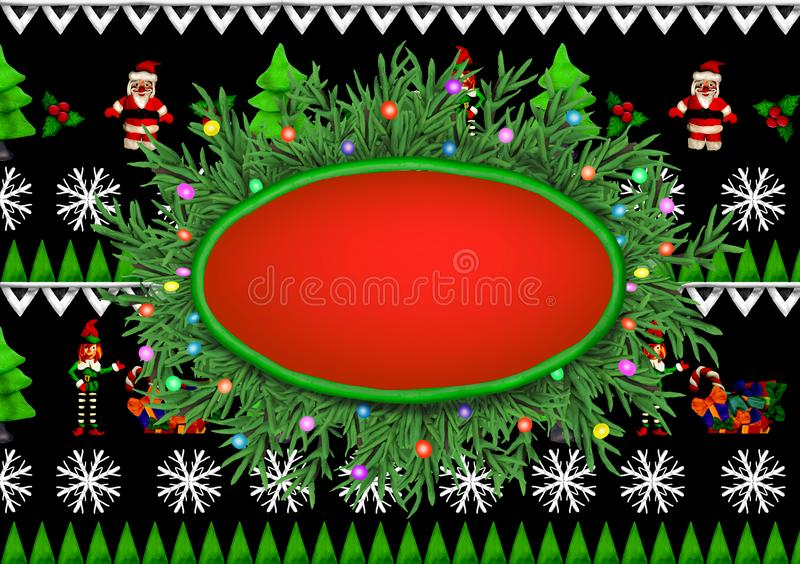 Christmas plasticine 3D wreath with text place on Scandinavian ornament background with Santa,elf decoration. Christmas plasticine 3D wreath with text place on royalty free illustration