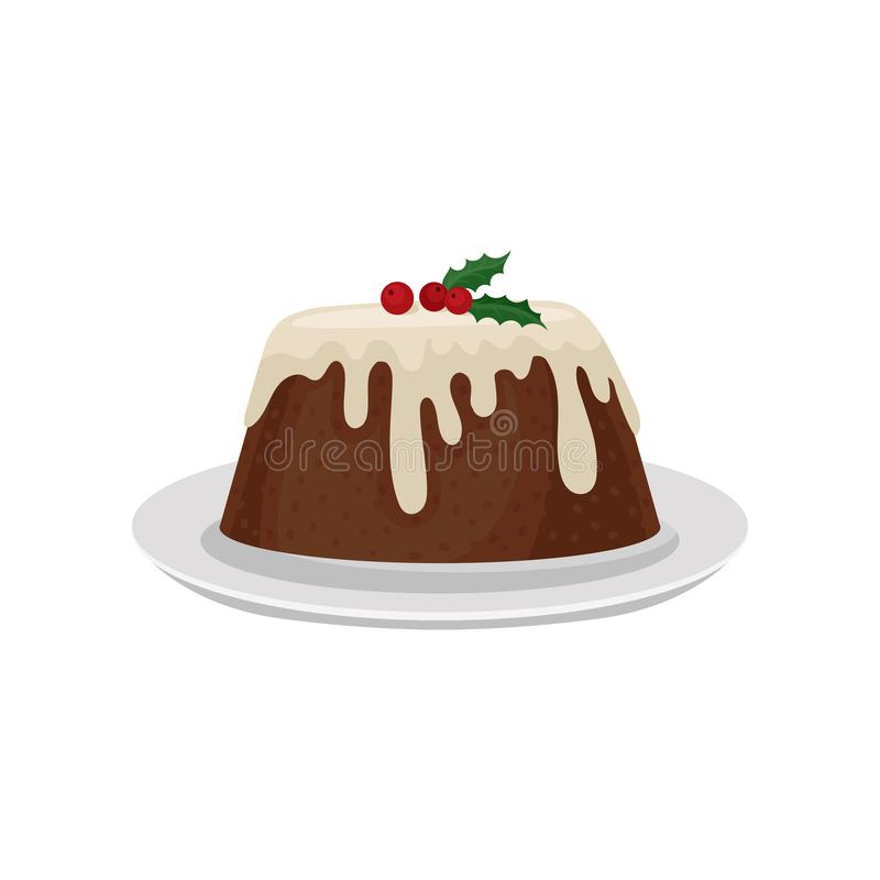 Christmas plum pudding decorated with red cranberry. Traditional dessert of English cuisine. Sweet food. Flat vector for stock illustration