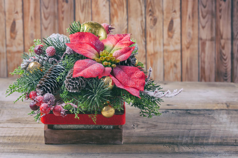 Christmas poinsettia flower table decoration. royalty free stock image