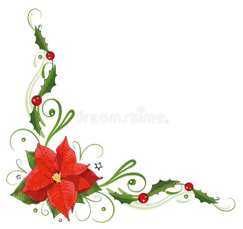 christmas poinsettia holly stock vector illustration. Black Bedroom Furniture Sets. Home Design Ideas
