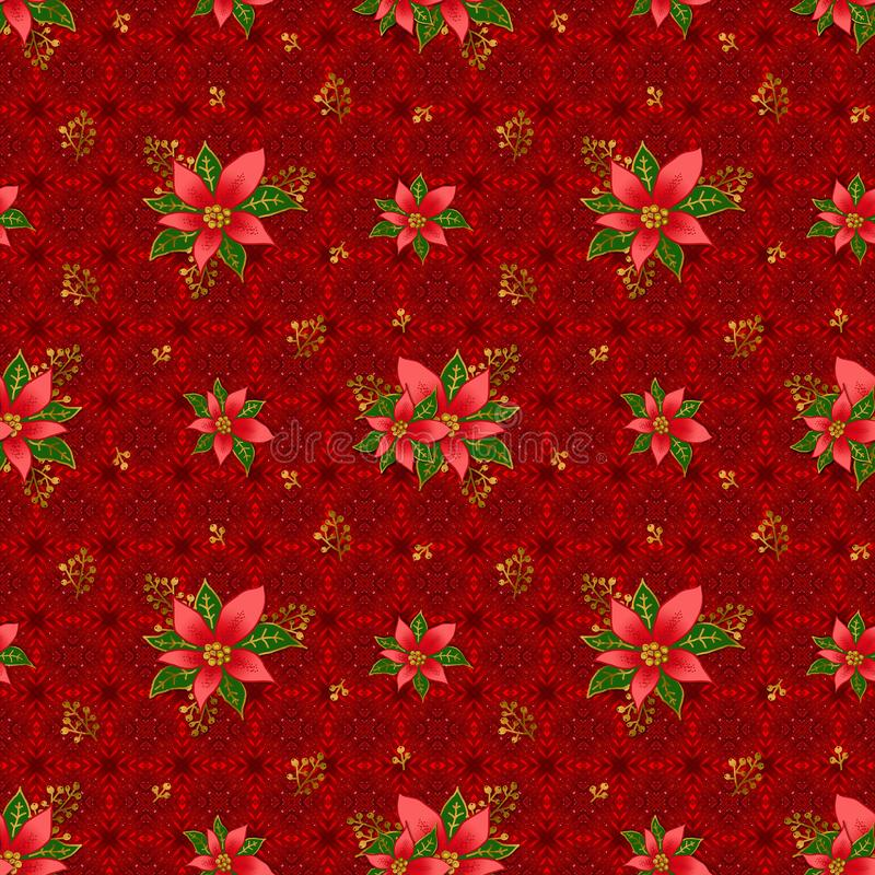 Christmas Poinsettia on a red background, seamless floral pattern vector illustration