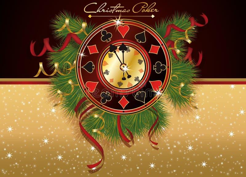 Christmas Poker casino banner. Vector illustration royalty free illustration