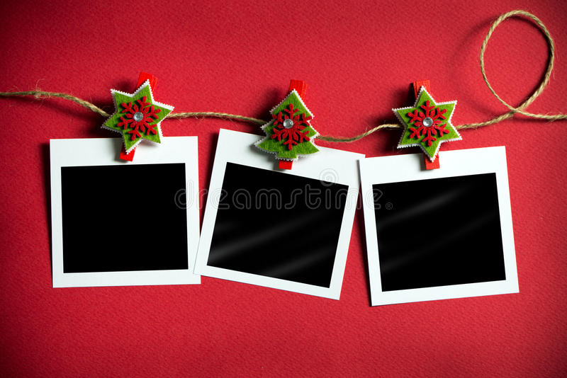 Christmas polaroid photo frames royalty free stock photography