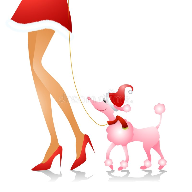 Christmas Poodle Walk. An illustration featuring a tall woman walking her pet poodle with a Christmas theme royalty free illustration