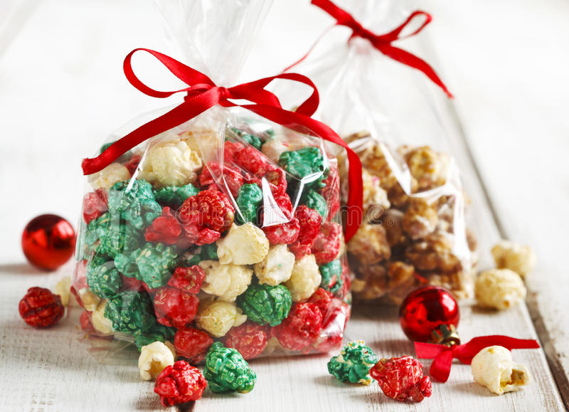Christmas popcorn and white chocolate and peppermint popcorn royalty free stock photo