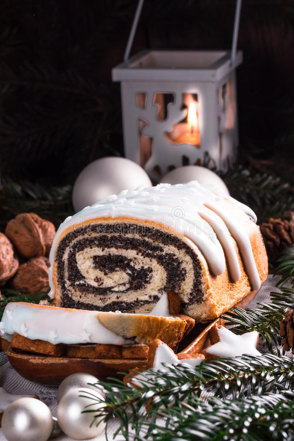 Christmas poppy seed cake stock photography