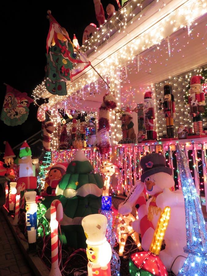 Christmas Porch in the Suburbs of Virginia stock photos