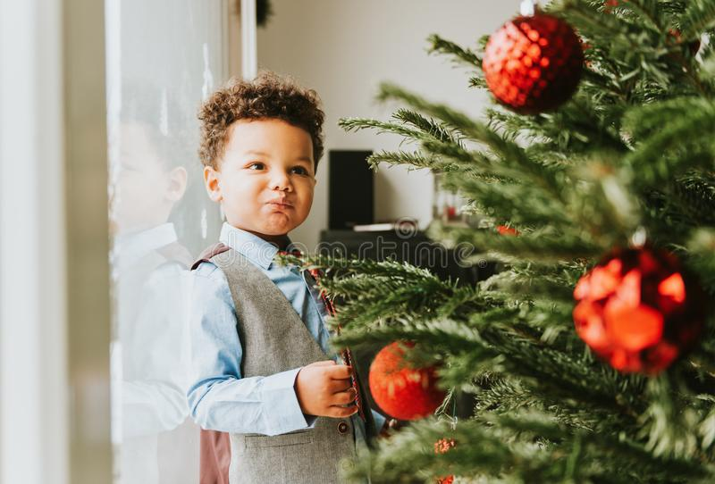Christmas portrait of adorable african toddler boy stock photography