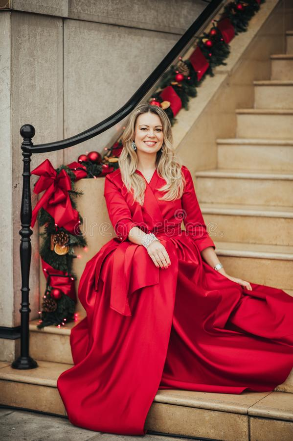 Christmas portrait of beautiful woman with blond hair stock photo