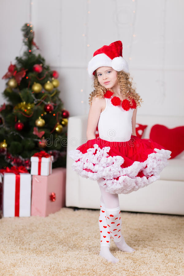 Free Christmas Portrait Of Beautiful Curly Girl Royalty Free Stock Photography - 35494897