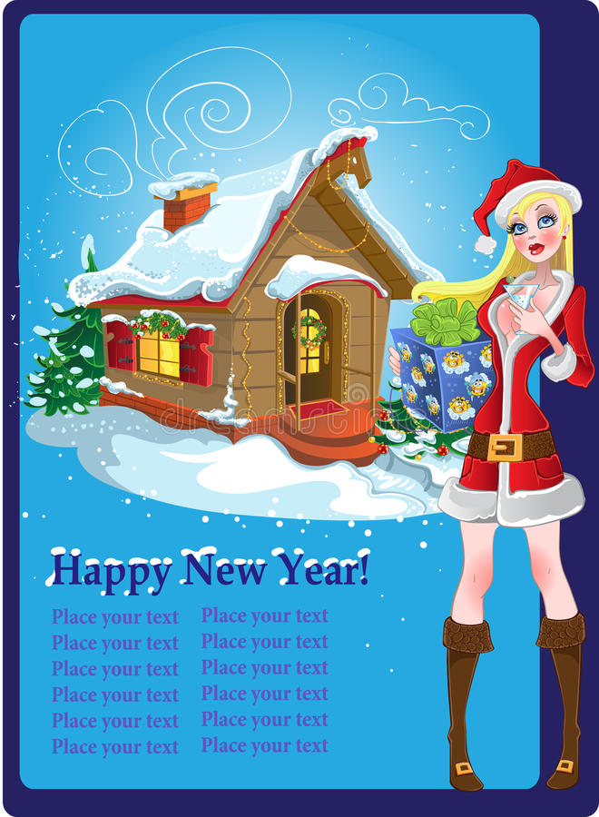 Christmas post card with snow girl. stock images