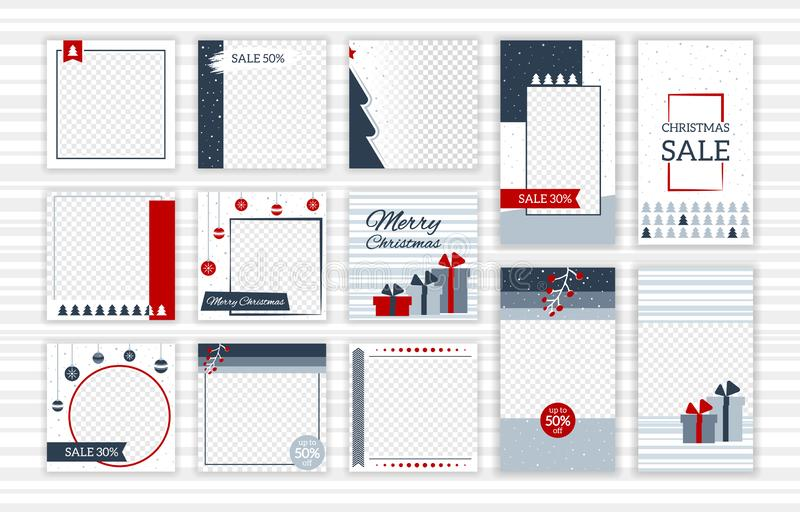 Christmas post and stories template set for social media vector illustration