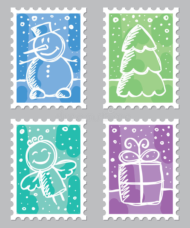 Download Christmas postage stamps stock vector. Illustration of drawing - 22394844