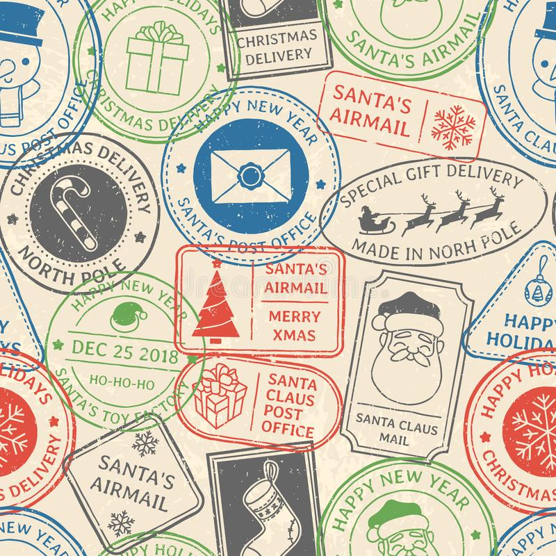 Christmas postal pattern. Santa Claus postmark cachet, winter holiday postage card stamp and north pole mail stamps. Old vintage paper mail post airmail stamp stock illustration