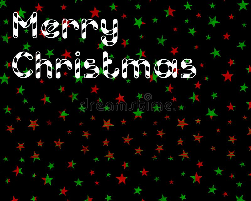 Christmas postcard with black background and stars. Simple illustration presenting a Christmas postcard with red and green stars and black background stock photos