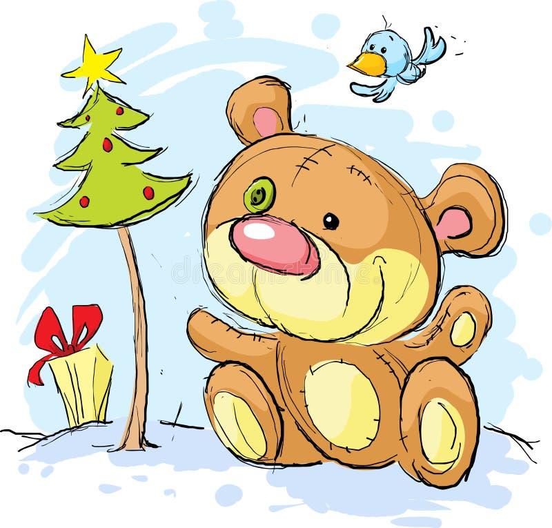 Christmas postcard illustration with bear royalty free illustration