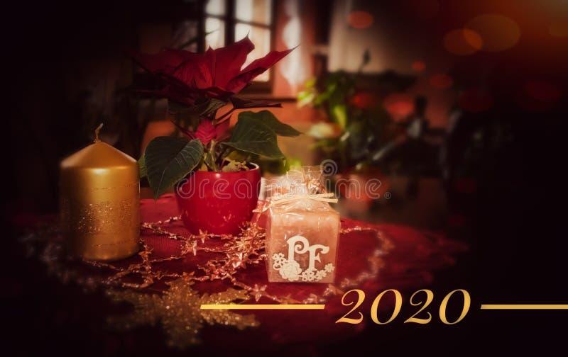 Christmas postcard with PF 2020 stock photography