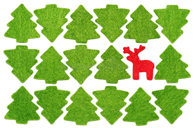 Download Christmas Postcard With Red Deer Among Fir-trees Stock Image - Image of upside, green: 27387795