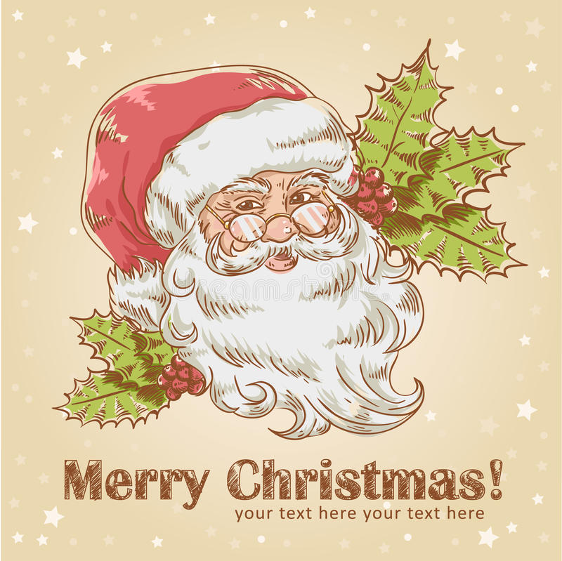 Christmas postcard with smiling Santa Claus stock illustration