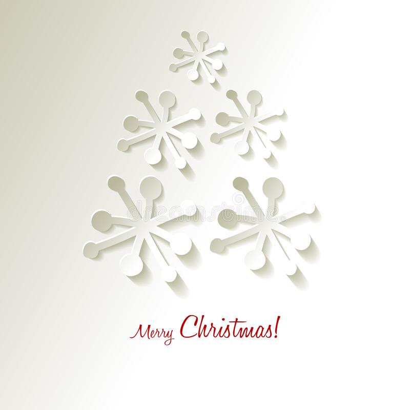 Christmas postcard Vector paper Snowflakes Christmas tree on a white grey background. Christmas postcard Vector paper Snowflakes Christmas tree on a white grey royalty free illustration