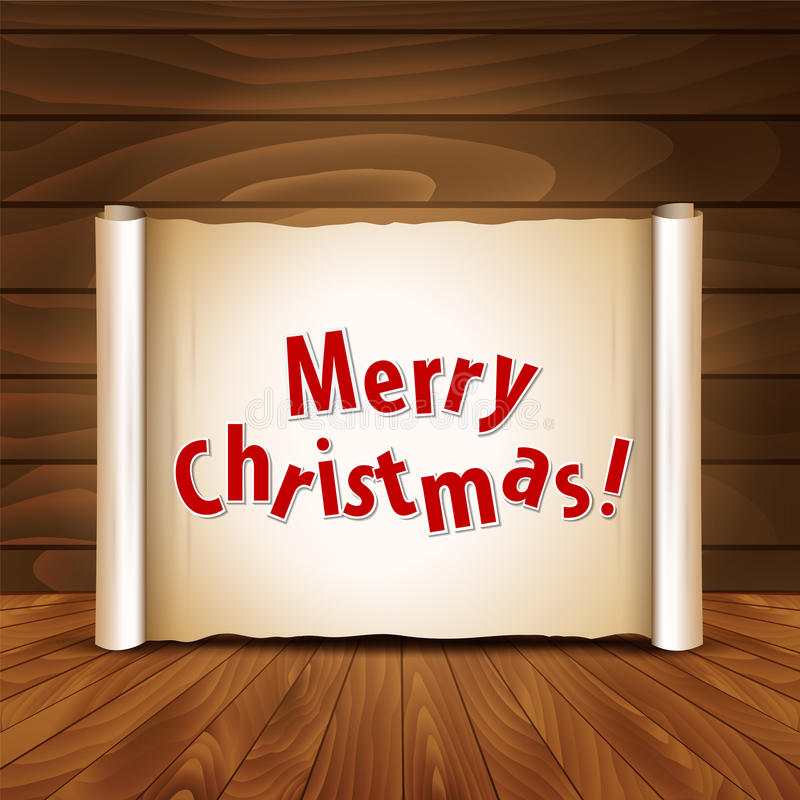 Christmas postcard on a wooden background. Vector illustration royalty free illustration