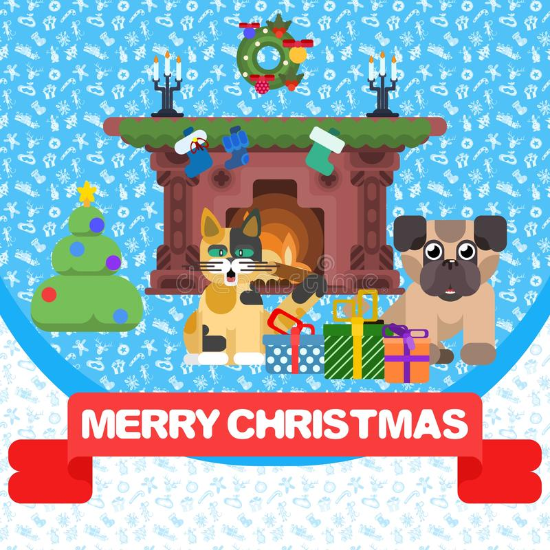 Christmas poster with animals and fireplace.card. Christmas poster with animals and fireplace. holiday card.vector image royalty free stock images