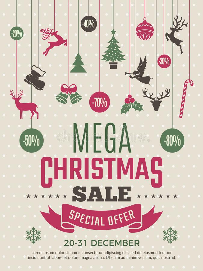 Christmas poster for big sales. New year voucher deals discounts vector coupon template. Illustration of mega banner sale for xmas and new year royalty free illustration