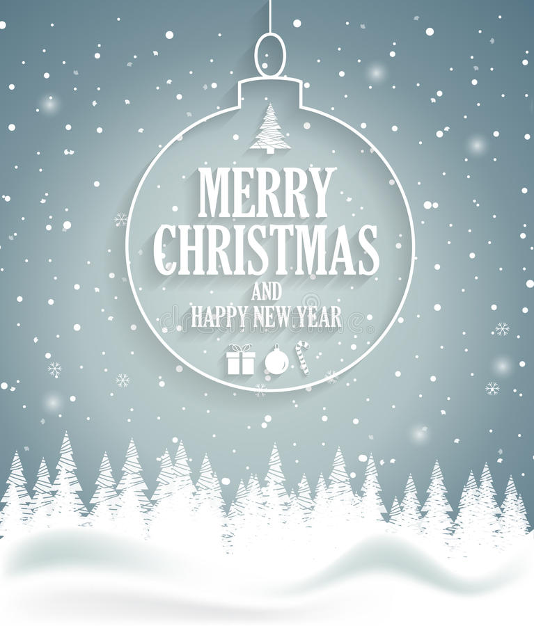 Christmas Poster On Blue Background With Snow And Tree. Happy New Year Message Stock Vector ...