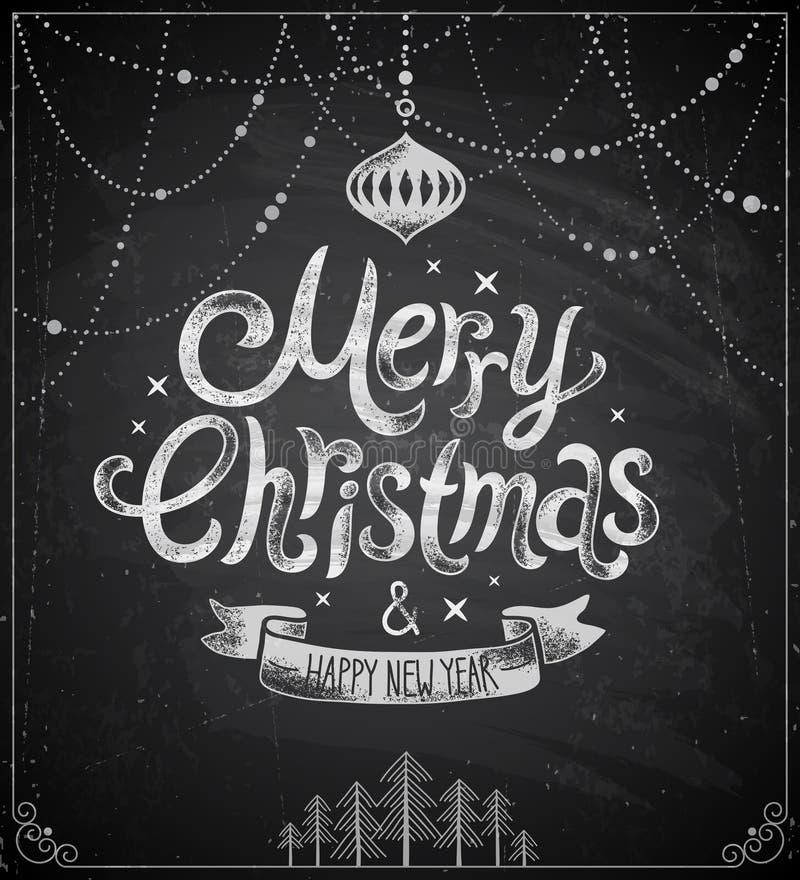 Christmas poster - Chalkboard style. Vector illustration vector illustration