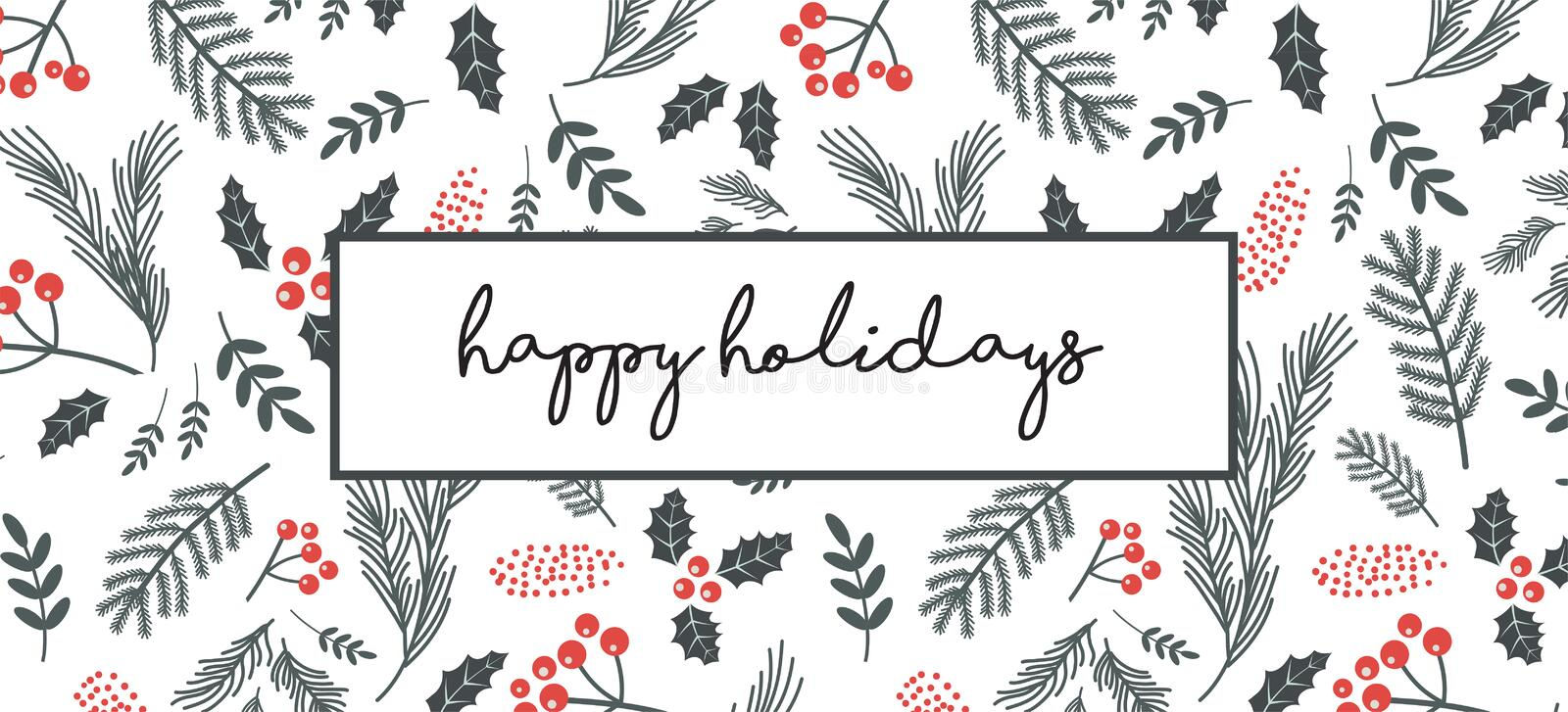 Christmas poster, flyer , banner, greeting card. Christmas pattern with twigs, flowers, leaves on a white background. Vector royalty free illustration