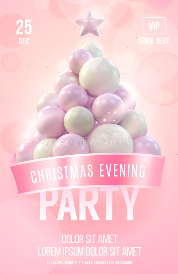 Christmas poster or flyer template with pink christmas tree made in gentle colors. Vector illustration royalty free illustration