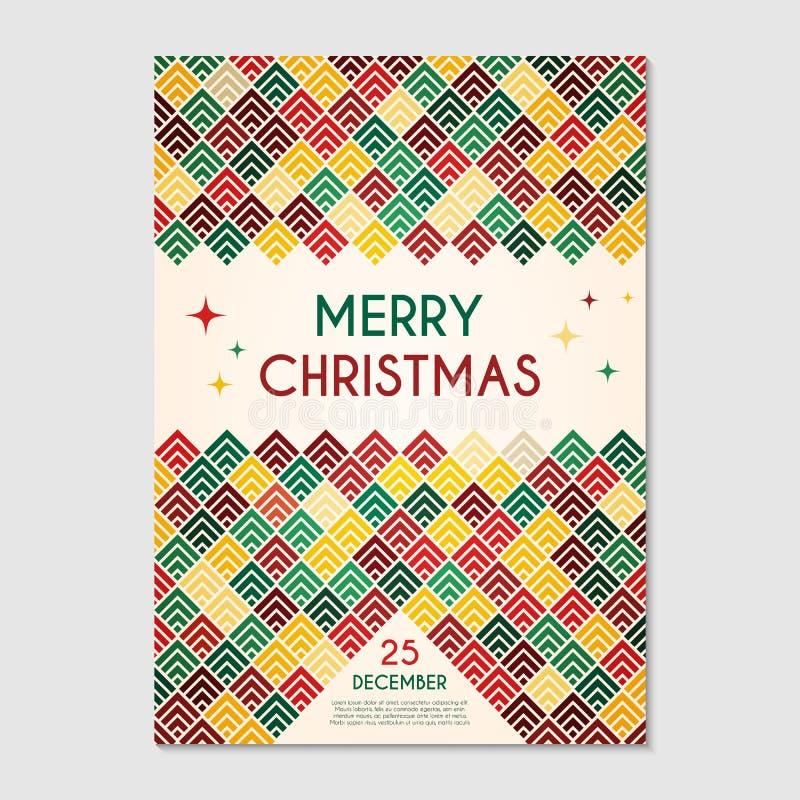 Christmas Poster Geometric Template Stock Vector - Illustration of ...