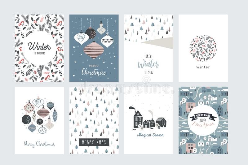 Christmas poster and greeting cards in retro style. Christmas balls in pastel colors, winter landscape and cosy houses. Merry christmas illustration vector