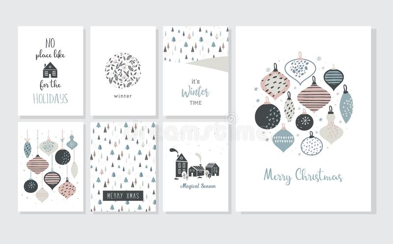 Christmas poster and greeting cards in retro style. Christmas balls in pastel colors, winter landscape and cosy houses. Merry christmas vector illustration