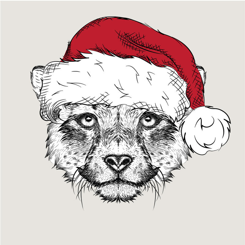 The christmas poster with the image cheetah portrait in Santa's hat. Vector illustration royalty free illustration
