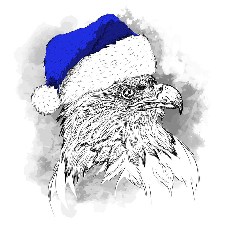 The christmas poster with the image eagle portrait in Santa`s hat. Hand draw vector illustration. vector illustration