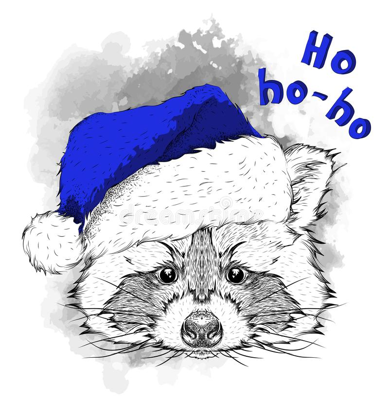 The christmas poster with the image raccoon portrait in Santa`s hat. Hand draw vector illustration. vector illustration