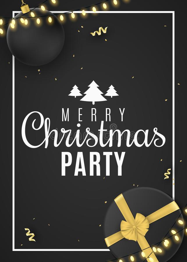 Christmas poster for party. Black gift box with a gold ribbon and christmas ball. Confetti with serpentine. Glowing gold royalty free illustration