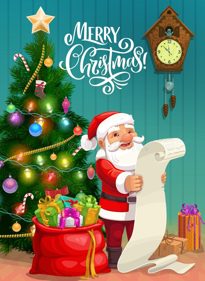 Free Christmas Poster, Santa Reading Gifts Wish List Stock Photography - 166485522