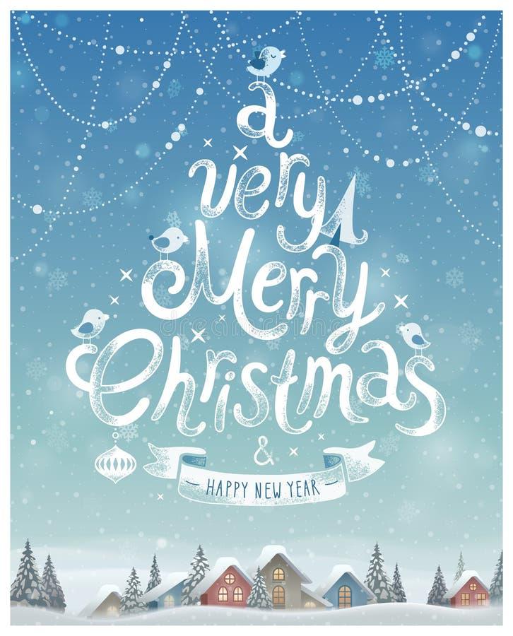 Christmas Poster. Vector illustration. stock illustration
