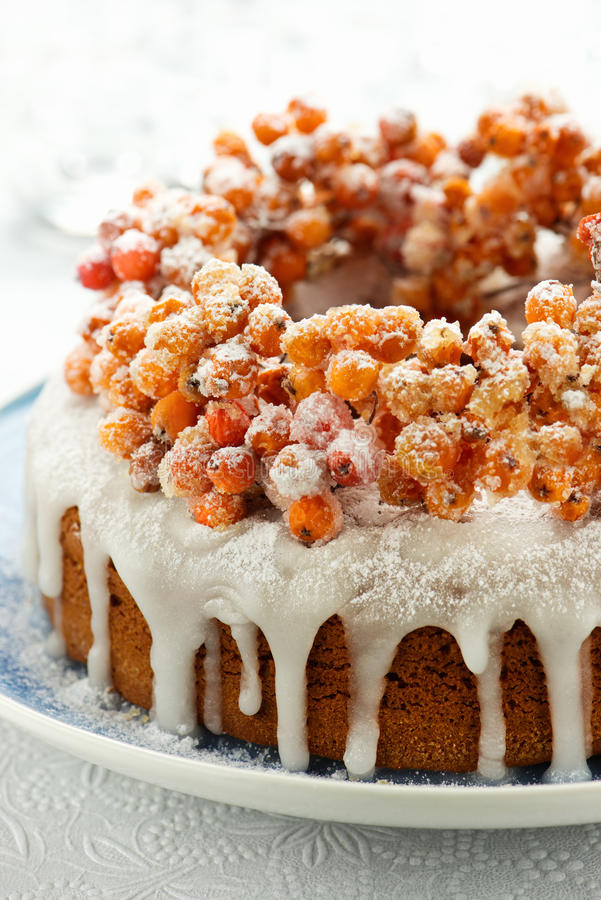 Free Christmas Pound Cake With Candied Fruits Of Rowan Stock Photos - 62860973
