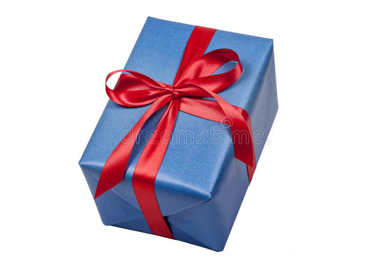 Christmas present in blue royalty free stock photo