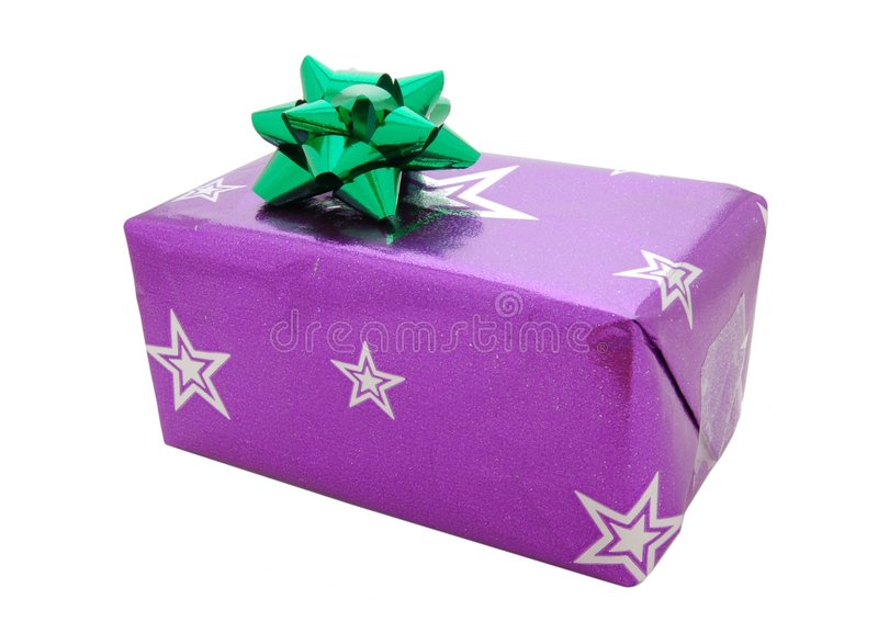 Christmas present with bow stock photography