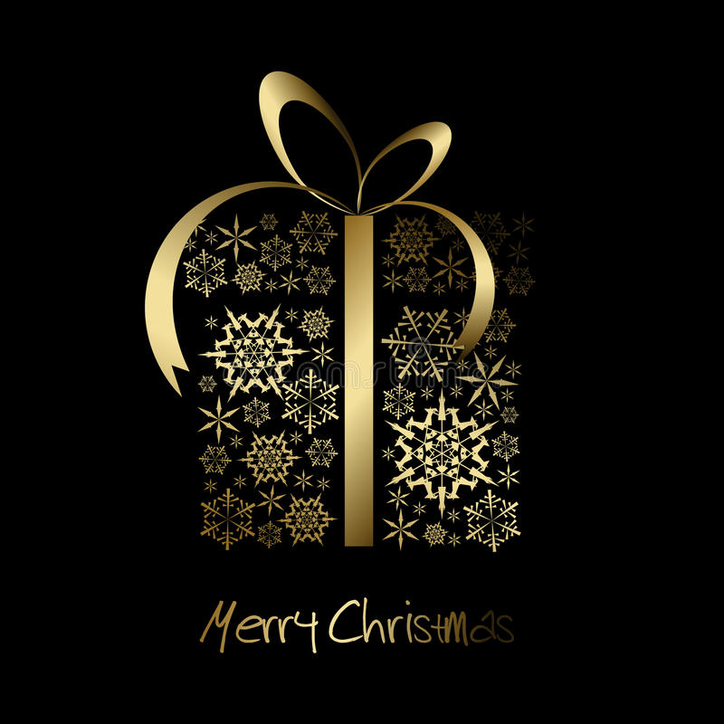 Free Christmas Present Box Made From Golden Snowflakes Royalty Free Stock Images - 12153689