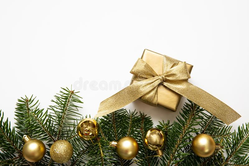 Christmas gift and decoration on white color background stock photography